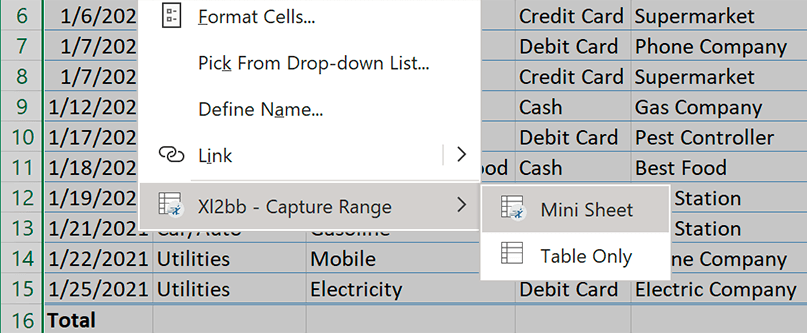 Cell context menu button