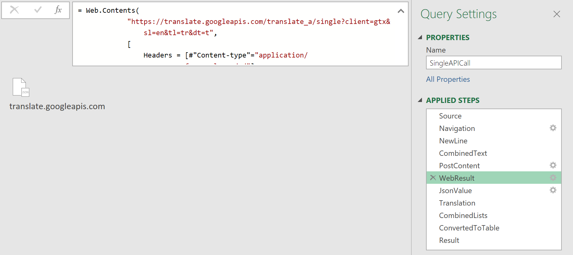 Web.Contents function with options