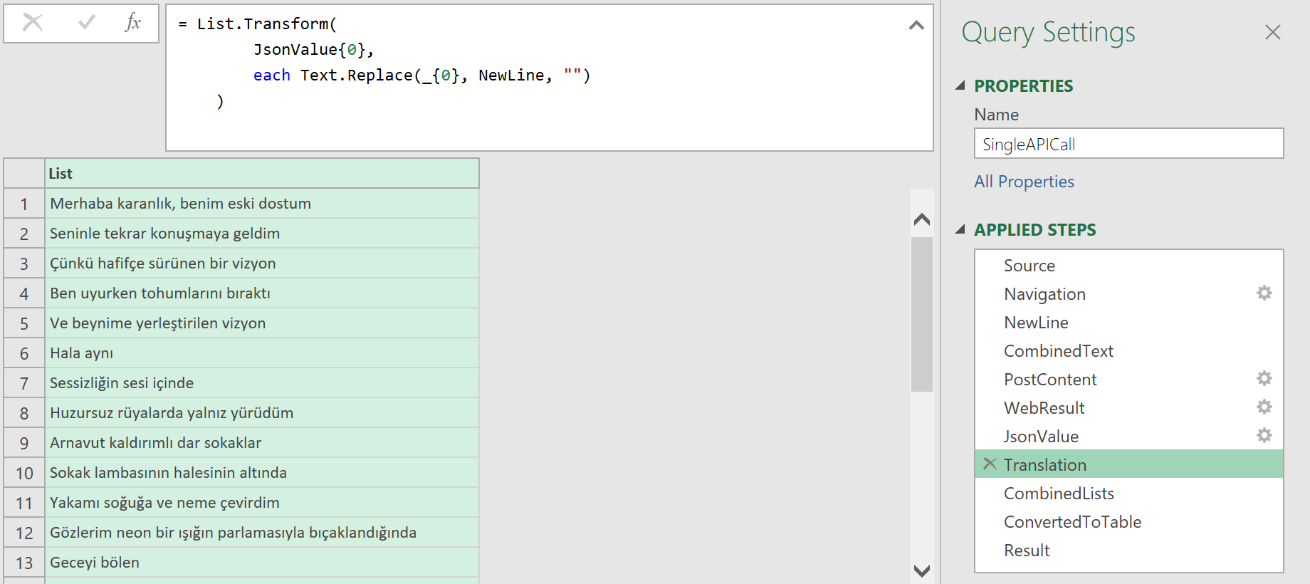 Remove extra newline characters by using Text.Replace function