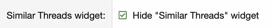 Hide similar threads widget option