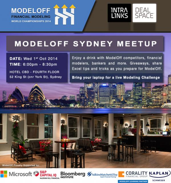ModelOff Sydney Meetup - Wednesday 1st October - ModelOff Sydney Meetup - Wednesday 1st October Hotel CBD, Cnr King/York Sts, Sydney