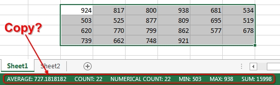 Copy the Quick Stats Values to the Clipboard - Excel Tips