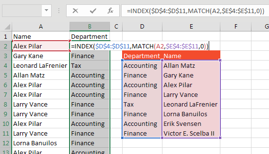 Solution is Using MATCH and INDEX