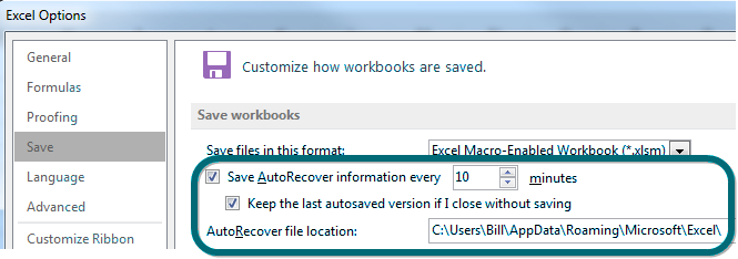Recover unsaved workbooks excel tips mrexcel publishing autorecover settings ibookread ePUb