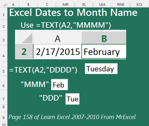 Convert Excel Dates to Month Names