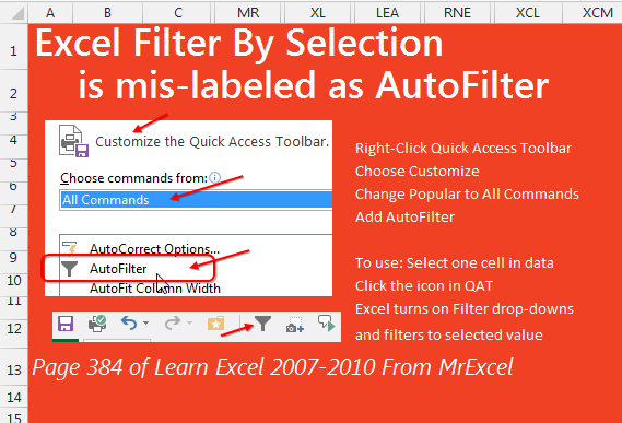 Excel Filter by Selection
