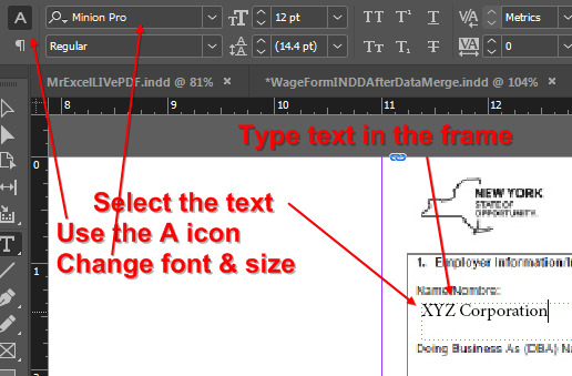 Indesign Font Name and Size