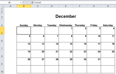Calendar in Excel with One Formula (Array Entered, of Course