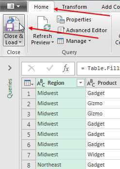 Return the data to Excel
