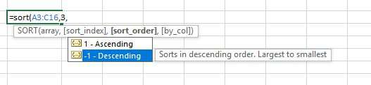 Specify 3 as the sort column and -1 as the sort order for descending.