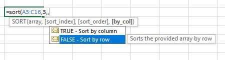 If you need to sort by columns, use True in the 4th argument