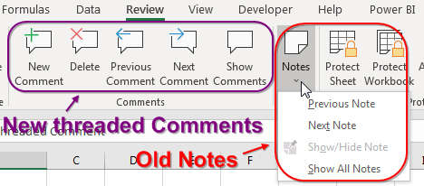 Threaded comments and notes have their own section of the Ribbon.