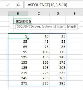 Generate a sequence of numbers