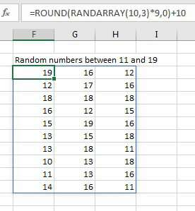 An array of random numbers between 11 & 19