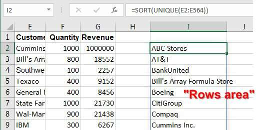 One dynamic array formula to create customers down the side of the report