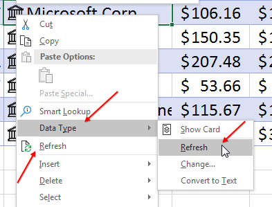 Refreshing data is located in the right-click menu