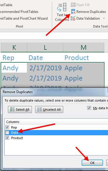 Tell Remove Duplicates to only consider Rep and Date