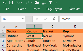 This shows an unfiltered data set. The cell pointer is on the word West in the Region column. The mouse cursor is about to click the AutoFilter icon in the Quick Access Toolbar.