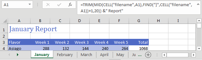 Excel 2019: Put the Worksheet Name in a Cell - Excel Tips