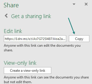 The Share Panel offers an Edit Link and a View-Only Link. Click the button to create either (or both) link. Once you create the link, you will see it is insanely long (https://1drv.ms/s/aksldsjasjdskjsajaldkladjkl. Instead of trying to type the link, use the Copy button that appears to the right of the link.