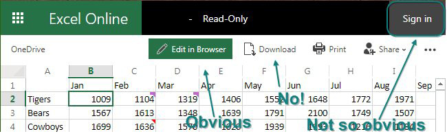 "This figure shows the workbook in Excel Online. A big icon says ""Edit in Browser"", but you don't want this one. The next icon says Download and you definitely don't want that one. Far to the right is a button to Sign In. That is what you have to do first."