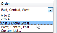 Back in the Sort dialog, the Order drop-down now offers two new choices. You have the original A to Z, Z to A, then East, Central, West or the backwards West, Central, East, and then the option to choose a different Custom List.