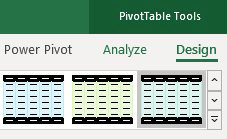 There are two tabs in the Ribbon for PivotTable Tools. The second tab is called Design and offers a gallery with different color schemes.