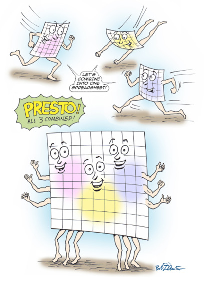 "This is a cartoon illustrating what is about to happen. Three cartoon spreadsheets at the top are running towards each other, shouting ""Let's Combine Into One Spreadsheet"". At the bottom, a larger worksheet (with three faces and six arms) has all of the data from all three worksheets."