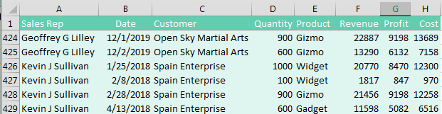 Columns for Sales Rep, Date, Customer, Quantity, Revenue, Cost, and Profit. The data is sorted by Customer (column C).
