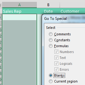 With the data in the #2 view, all of the Sales Rep fields are empty on the Customer Subtotals. Select all of the blank cells. In the Go To Special dialog, choose Blanks.