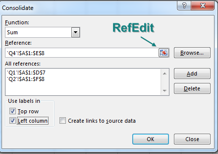 In the Consolidate dialog box, use the RefEdit button to point to the data on each of the three worksheets. In the lower left corner, make sure to choose Use Labels In: Top Row, Left Column.