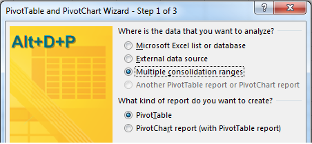 Press Alt+D P to open the legacy PivotTable and PivotChart Wizard. In Step 1 of 3, choose Multiple Consolidation Ranges.