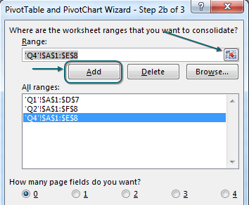 In the PivotTable wizard Step 2b of 3, specify all three ranges. Specify 0 page fields.