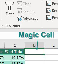 Place the cell pointer in cell D3, which is the first blank cell to the right of the pivot table. The Filter icon should still be greyed out, but it is now available.