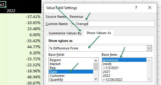 In the Value Field Settings dialog, choose the second tab, called Show Values As. In the top drop-down menu, choose % Difference From. The Base Field should be Date. The Base Item should be (previous).