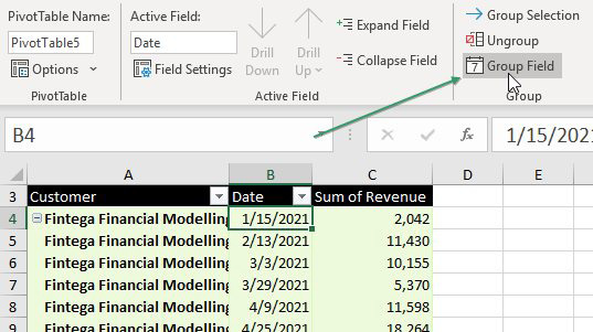 A pivot table is reporting daily dates. Choose one date cell in the pivot table. Click the Group Field icon in the Analyze tab of the Ribbon.