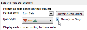 Manage the rules, and check the box for Show Icon Only. This prevents the 1, 0, -1 from appearing in the cells.