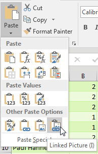Copy the range of icons. Select the first Tuesday cell in the pivot table. On the Home tab, open the Paste Dropdown. The very last icon is called Linked Picture (I). Select this.