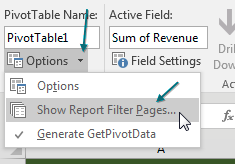 But here is another way to use the Filter field. Change the drop-down in B1 back to (All). Then, look on the left side of the Analyze tab. There is an Options button. To the right of the Options button is a drop-down arrow. Open that and choose Show Report Filter Pages. The other two items in this menu are Options and Generate GetPivotData.