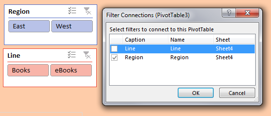 Select one pivot table. Go to Filter Connections on the Analyze tab. Connect the pivot table to both the Line and Region slicer by checking both checkboxes next to the list of Slicers.