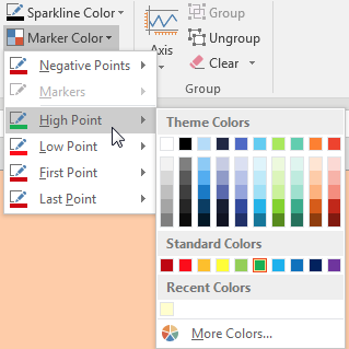 Also in the Sparkline Tools dialog, open the Marker Color drop-down. Choose a color for High Point and a color for Low Point.