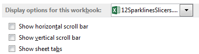 Excel Options, Advanced, Display Options For This Workbook. Turn off the checkboxes for Show Horizontal Scrollbar, Show Versical Scrollbar, and Show Sheet Tabs.
