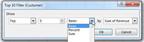 The Top 10 Filter dialog offers four controls. The first lets you choose Top or Bottom. The second is a spin button where you can enter a number. The third is a drop-down menu where you can choose Items, Percent, or Sum. The last is the field to use. In this screenshot, the settings are Top 5 Items by Sum of Revenue.