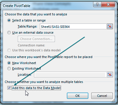 When creating the pivot table, choose the box for Add This Data To The Data Model. The box is in the lower left corner of the Create PivotTable dialog.