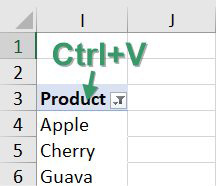 Paste the pivot table far to the right of your print range. Change the pivot table to show only Product. Remove the Grand Total. In the current example, the products are in I4:I8, but they could stretch down to cell I29.
