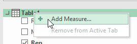 Right click the Table1 heading in the Pivot Table Field list and choose Add Measure....