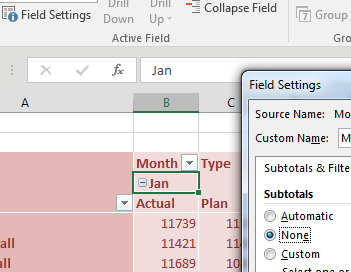 You can get rid of the Jan Actual Plus Plan column. Double-click on the Jan heading in B4. In the Field Settings, change Subtotals from Automatic to None.