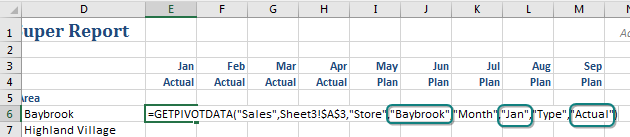 "The resulting formula is =GETPIVOTDATA(""Sales"",Sheet3!$A$3,""Store"",""Baybrook"",""Month"",""Jan"",Type,""Actual"")"