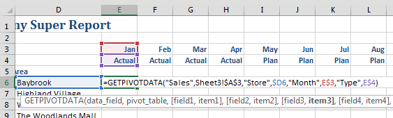 "Change the formula to use cell references instead of hard-coded values. The resulting formula is =GETPIVOTDATA(""Sales"",Sheet3!$A$3,""Store"",$D6,""Month"",E$3,Type,E$4)"