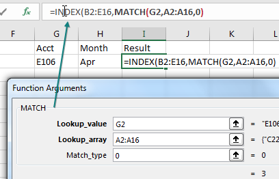 After entering the three arguments for MATCH, you need to return to the INDEX version of Function Arguments. Reach up to the Formula Bar and click inside the word INDEX.